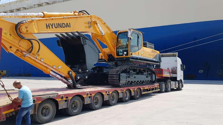 Перевозка экскаватора Hyundai из Кореи в Армению